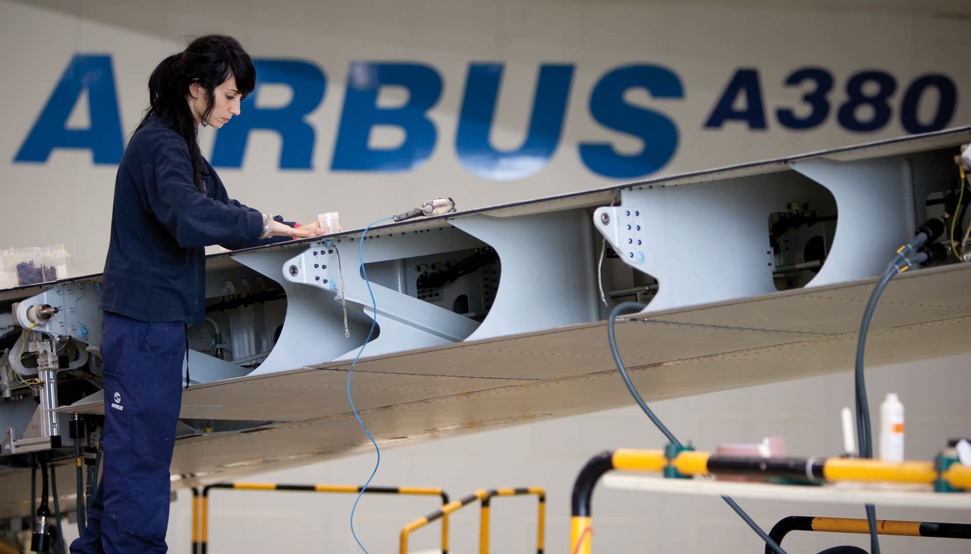 Industrial operatives working at the Airbus plant in Puerto Real.