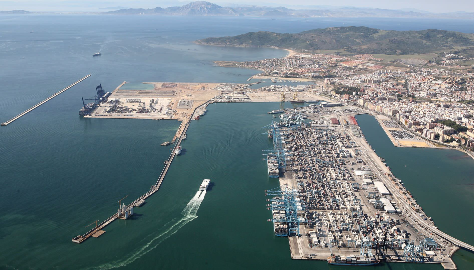 Aerial View Port of Algeciras, in the Strait of Gibraltar.