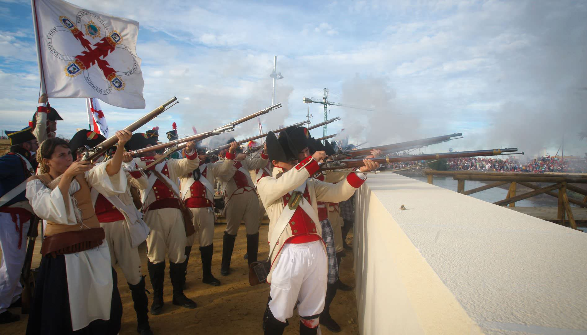 Recreation of the Battle of Trafalgar, which is celebrating it's 200th anniversary, as are the courts of the Isla de León (1810) and the Constitution of Cádiz (1812).