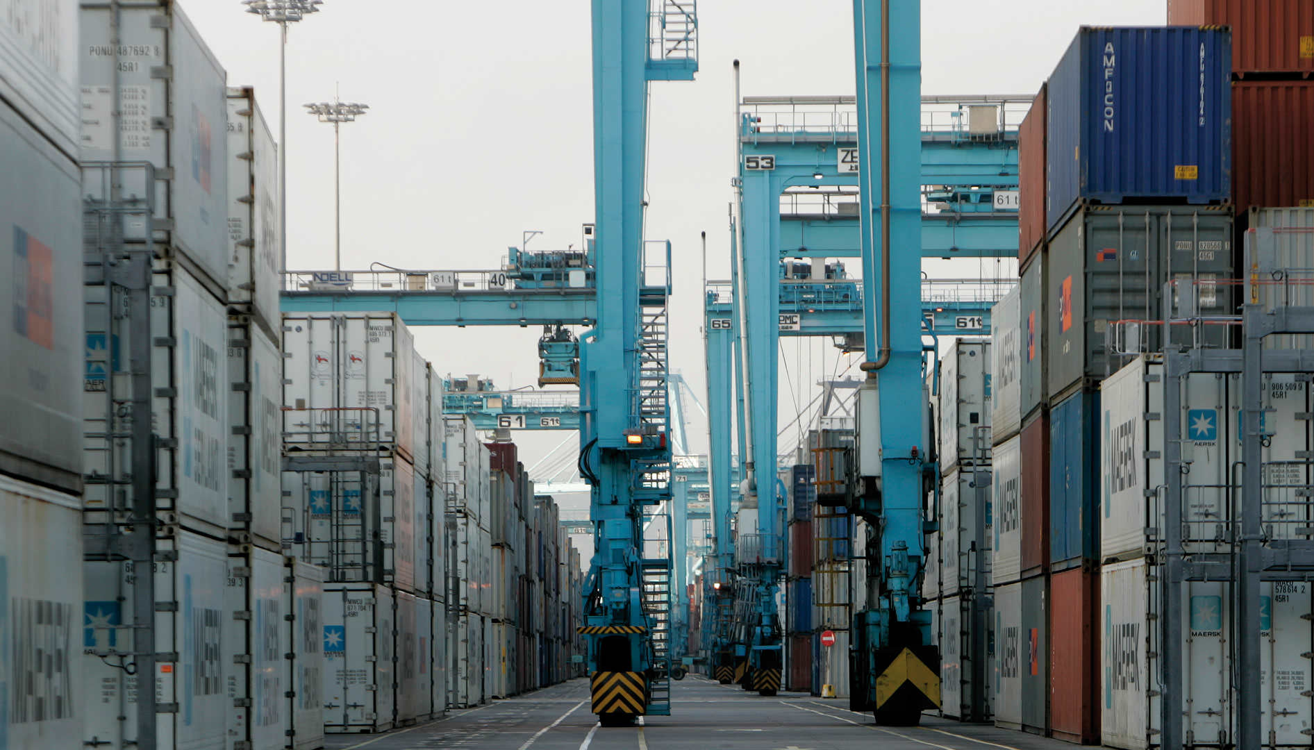 Maersk shipping containers among the cranes at the port of Algeciras.