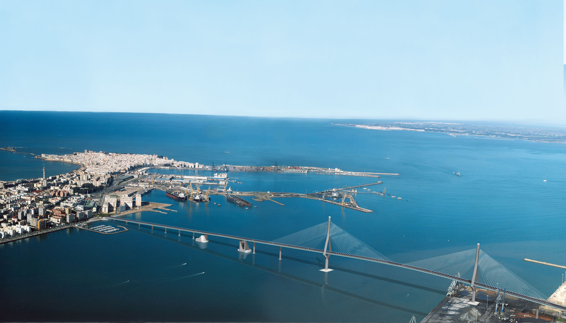 Simulation of the new bridge linking the Bay of Cádiz to the center of the capital.