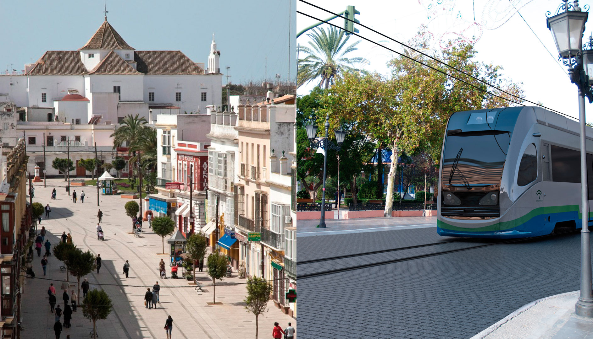 On the left, aerial view of Real Street, the main artery of San Fernando. On the right, a simulation of the the tram-way around the city.